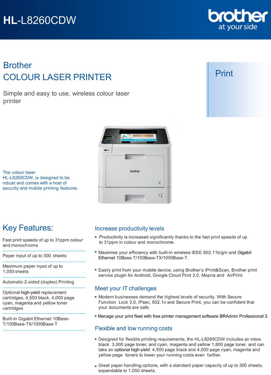 Brother HL-L8260CDW Printer - A4 Colour Laser WiFi Print