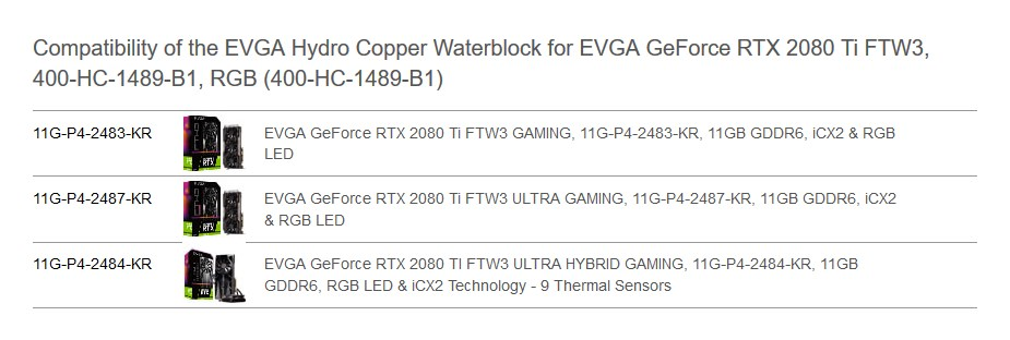 EVGA Hydro Copper RGB Waterblock for EVGA GeForce RTX 2080